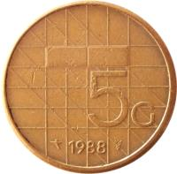 reverse of 5 Gulden - Beatrix (1987 - 2001) coin with KM# 210 from Netherlands. Inscription: 5G 1989