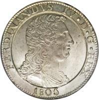 obverse of 120 Grana - Ferdinando IV (1805) coin with KM# 246 from Italian States.