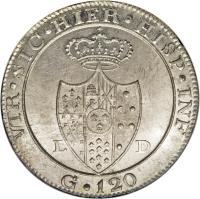 reverse of 120 Grana - Ferdinando IV (1805) coin with KM# 246 from Italian States.