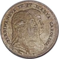 obverse of 1 Piastra - Ferdinando IV - Return of King and Queen from Austria (1791) coin with KM# 212 from Italian States.