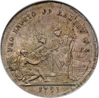 reverse of 1 Piastra - Ferdinando IV - Return of King and Queen from Austria (1791) coin with KM# 212 from Italian States.