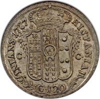 reverse of 120 Grana - Ferdinando IV (1786 - 1795) coin with KM# 198 from Italian States.