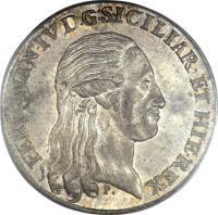obverse of 120 Grana - Ferdinando IV (1795 - 1800) coin with KM# 215 from Italian States. Inscription: FERDINAN · IV · D · G · SICILIAR · ET · HIE · REX