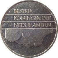 obverse of 1 Gulden - Beatrix (1982 - 2001) coin with KM# 205 from Netherlands. Inscription: BEATRIX KONINGIN DER NEDERLANDEN