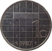 reverse of 1 Gulden - Beatrix (1982 - 2001) coin with KM# 205 from Netherlands. Inscription: 1G 2000