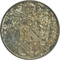 obverse of 5 Baiocchi - Pius IX (1847 - 1855) coin with KM# 1341a from Italian States. Inscription: PIVS · IX · PONT · MAX · A · IV ·