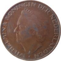 obverse of 5 Cents - Wilhelmina (1948) coin with KM# 176 from Netherlands. Inscription: WILHELMINA KONINGIN DER NEDERLANDEN