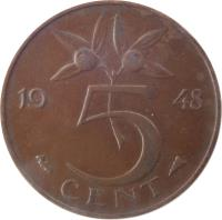 reverse of 5 Cents - Wilhelmina (1948) coin with KM# 176 from Netherlands. Inscription: 5 CENT 1948