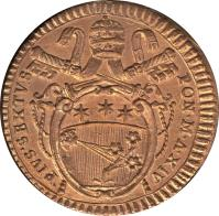 obverse of 1/2 Baiocco - Pius VI (1786 - 1797) coin with KM# 1227 from Italian States. Inscription: PIVS.SEXTVS / PON.M.A.XIV