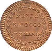 reverse of 1/2 Baiocco - Pius VI (1786 - 1797) coin with KM# 1227 from Italian States. Inscription: MEZZO BAIOCCO ROMANO