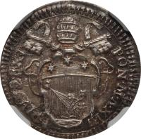 obverse of 1 Grosso - Pius VI (1784 - 1787) coin with KM# 1047 from Italian States. Inscription: PIVS.SEXT / PON.M.A.XIII
