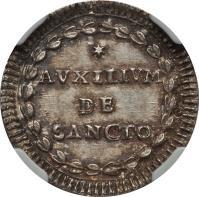 reverse of 1 Grosso - Pius VI (1784 - 1787) coin with KM# 1047 from Italian States. Inscription: * // AUXILIVM // DE // SANCTO