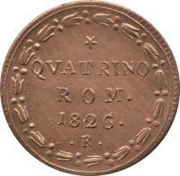 reverse of 1 Quattrino - Leo XII (1824 - 1826) coin with KM# 1298 from Italian States. Inscription: QVATRINO ROM. 1826.