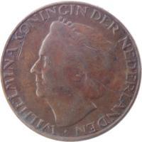 obverse of 1 Cent - Wilhelmina (1948) coin with KM# 175 from Netherlands. Inscription: WILHELMINA KONINGIN DER NEDERLANDEN