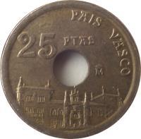 reverse of 25 Pesetas - Juan Carlos I - Basque Country (1993) coin with KM# 920 from Spain. Inscription: PAIS VASCO 25 PTAS M