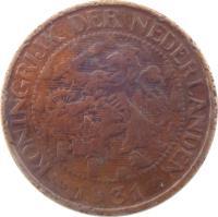obverse of 1 Cent - Wilhelmina (1913 - 1941) coin with KM# 152 from Netherlands. Inscription: KONINGRIJK DER NEDERLANDEN 1941