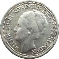 obverse of 10 Cents - Wilhelmina (1926 - 1945) coin with KM# 163 from Netherlands. Inscription: WILHELMINA KONINGIN DER NEDERLANDEN