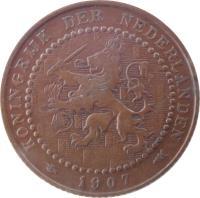 obverse of 1 Cent - Wilhelmina (1902 - 1907) coin with KM# 132 from Netherlands. Inscription: KONINGRIJK DER NEDERLANDEN 1902