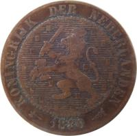 obverse of 2 1/2 Cents - Willem III / Wilhelmina (1877 - 1898) coin with KM# 108 from Netherlands. Inscription: KONINGRIJK DER NEDERLANDEN 1881