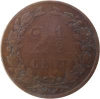 reverse of 2 1/2 Cents - Willem III / Wilhelmina (1877 - 1898) coin with KM# 108 from Netherlands. Inscription: 2 1/2 CENT
