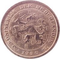 obverse of 1/2 Cent - Wilhelmina (1909 - 1940) coin with KM# 138 from Netherlands. Inscription: KONINGRIJK DER NEDERLANDEN 1940