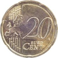 reverse of 20 Euro Cent - Willem-Alexander - 2'nd Map (2014 - 2015) coin with KM# 348 from Netherlands. Inscription: 20 EURO CENT LL
