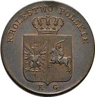 obverse of 3 Grosze (1831) coin with C# 120 from Poland. Inscription: KROLESTWO POLSKIE K. G.