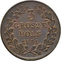 reverse of 3 Grosze (1831) coin with C# 120 from Poland. Inscription: 3 GROSZE POLS. 1831