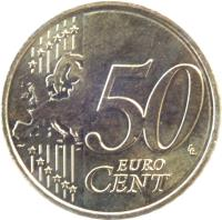 reverse of 50 Euro Cent - Willem-Alexander - 2'nd Map (2014 - 2015) coin with KM# 349 from Netherlands. Inscription: 50 EURO CENT LL