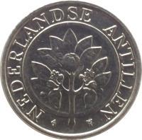 obverse of 25 Cents - Beatrix (1989 - 2014) coin with KM# 35 from Netherlands Antilles. Inscription: NEDERLANDSE ANTILLEN
