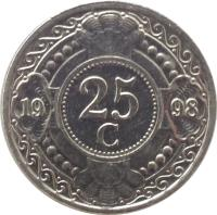 reverse of 25 Cents - Beatrix (1989 - 2014) coin with KM# 35 from Netherlands Antilles. Inscription: 25 c 19 91