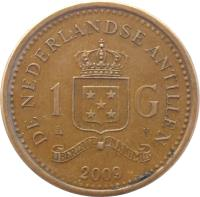 reverse of 1 Gulden - Beatrix (1989 - 2012) coin with KM# 37 from Netherlands Antilles. Inscription: DE NEDERLANDSE ANTILLEN 1 G 2009