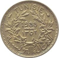 obverse of 50 Centimes - Chambres de Commerce (1921 - 1945) coin with KM# 246 from Tunisia. Inscription: TUNISIE 1941