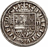 obverse of 2 Reales - Felipe IV (1627 - 1659) coin with KM# 93 from Spain.