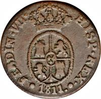 obverse of 1 1/2 Quarto - Fernando VII (1811 - 1813) coin with KM# 117 from Spain.