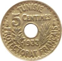 reverse of 5 Centimes - Aḥmad II ibn Ali (1931 - 1938) coin with KM# 258 from Tunisia. Inscription: TUNISIE 5 CENTIMES 1931 PROTECTORAT FRANÇAIS