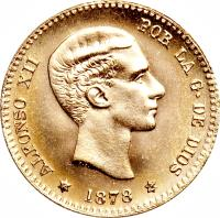 obverse of 10 Pesetas - Alfonso XII - 2'nd Portrait (1878 - 1879) coin with KM# 677 from Spain. Inscription: ALFONSO XII POR LA G · DE DIOS * 1879 *