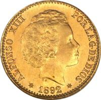 obverse of 20 Pesetas - Alfonso XIII (1892) coin with KM# 701 from Spain. Inscription: ALFONSO XIII POR LA G · DE DIOS G · S · 1892