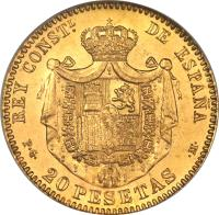 reverse of 20 Pesetas - Alfonso XIII (1892) coin with KM# 701 from Spain. Inscription: REY CONSTL DE ESPAÑA P · G · 20 PESETAS · M ·