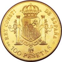 reverse of 100 Pesetas - Alfonso XIII (1897 - 1962) coin with KM# 708 from Spain.