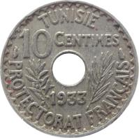 reverse of 10 Centimes - Aḥmad II ibn Ali (1931 - 1938) coin with KM# 259 from Tunisia. Inscription: TUNISIE 10 CENTIMES 1938 PROTECTORAT FRANÇAIS