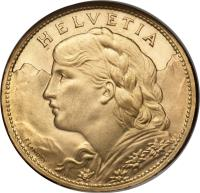 obverse of 100 Francs (1925) coin with KM# 39 from Switzerland. Inscription: HELVETIA