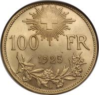 reverse of 100 Francs (1925) coin with KM# 39 from Switzerland. Inscription: 100 FR 1925 B