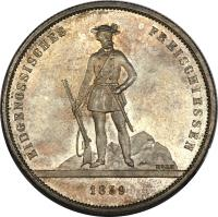 reverse of 5 Francs - Shooting Festival (1859) coin with X# S5 from Switzerland.