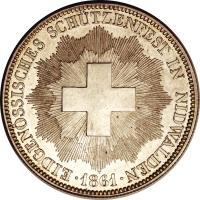 obverse of 5 Francs - Shooting Festival (1861) coin with X# S6 from Switzerland.