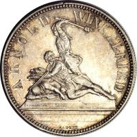 reverse of 5 Francs - Shooting Festival (1861) coin with X# S6 from Switzerland.