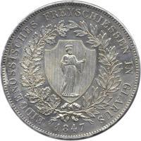 obverse of 40 Batzen - Shooting Festival (1847) coin with X# S2 from Switzerland. Inscription: EIDGENÖSSISCHES FREYSCHIESSEN IN GLARUS 1847