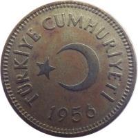 obverse of 25 Kuruş (1948 - 1956) coin with KM# 886 from Turkey. Inscription: TÜRKİYE CUMHURİYETİ 1956