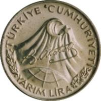 obverse of 1/2 Lira - Atatürk (1981) coin with KM# 941 from Turkey. Inscription: TÜRKİYE CUMHURİYETİ YARIM LİRA