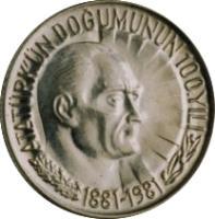 reverse of 1/2 Lira - Atatürk (1981) coin with KM# 941 from Turkey. Inscription: ATATÜRK'ÜN DOĞUMUNUN 100.YILI 1881-1981